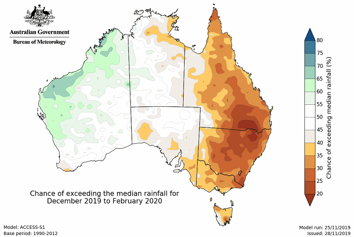 Map of Australia green in the west but the whole east coast brown