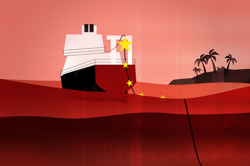 An illustration shows a cable-laying ship in a red sea, with yellow stars along a cable.