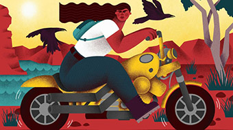 An illustration of a young woman on a motorcycle with a black crow flying behind her.