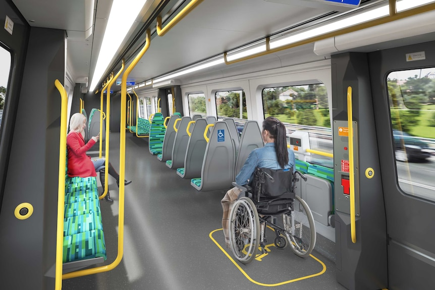 An artist's impression of the interior of a train.