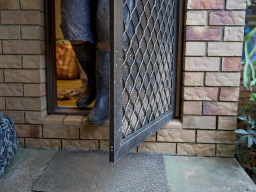 Flood mark on Alastair Gibb's door