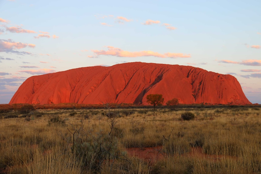 A wide shot of Uluru.
