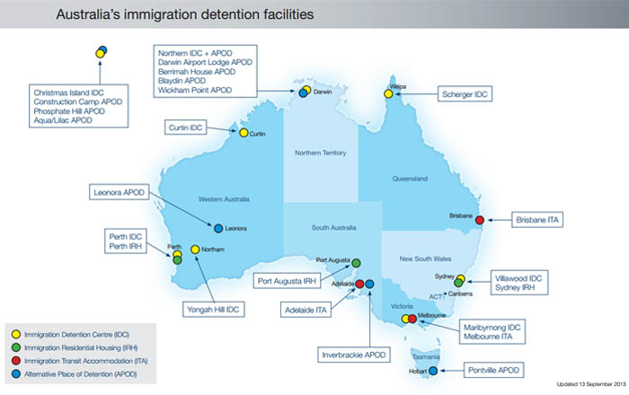 Map of Australia's immigration detention facilities