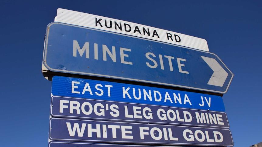 A road sign near Kalgoorlie-Boulder points the way to mines near Kundana.