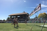 Female runners cross the finish line of the Stawell Gift in Western Victoria.