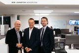 Bob Johnston in the newsroom named after him with current Managing Editor Stuart Watt and Director of News Gaven Morris