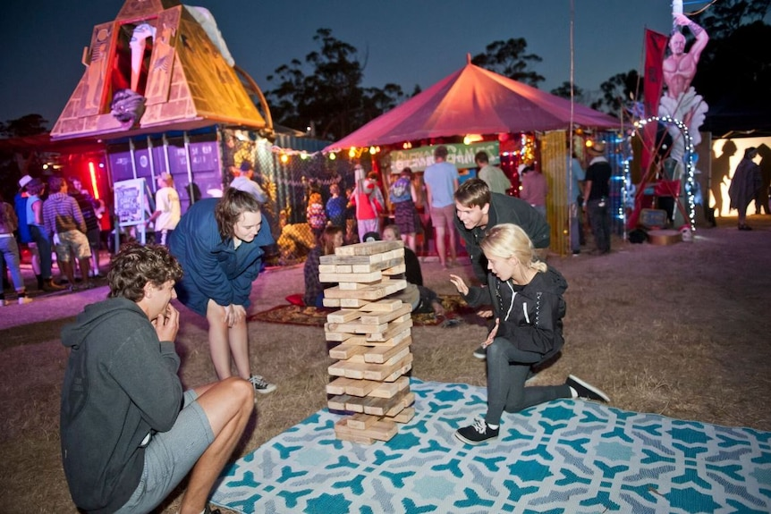Adolescents in a night time activity at Falls Festival Marion Bay, date unknown