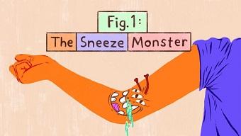 An illustration of a Sneeze Monster to help kids understand coronavirus.