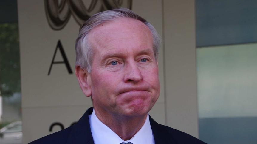 WA Premier Colin Barnett comments outside the ABC Studios in East Perth.