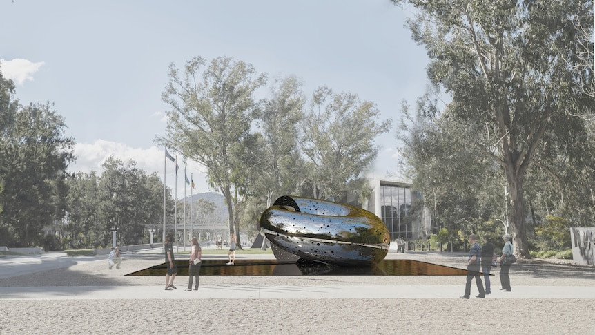 An artists' impression of the large snake-like coiled sculpture in the gallery grounds.