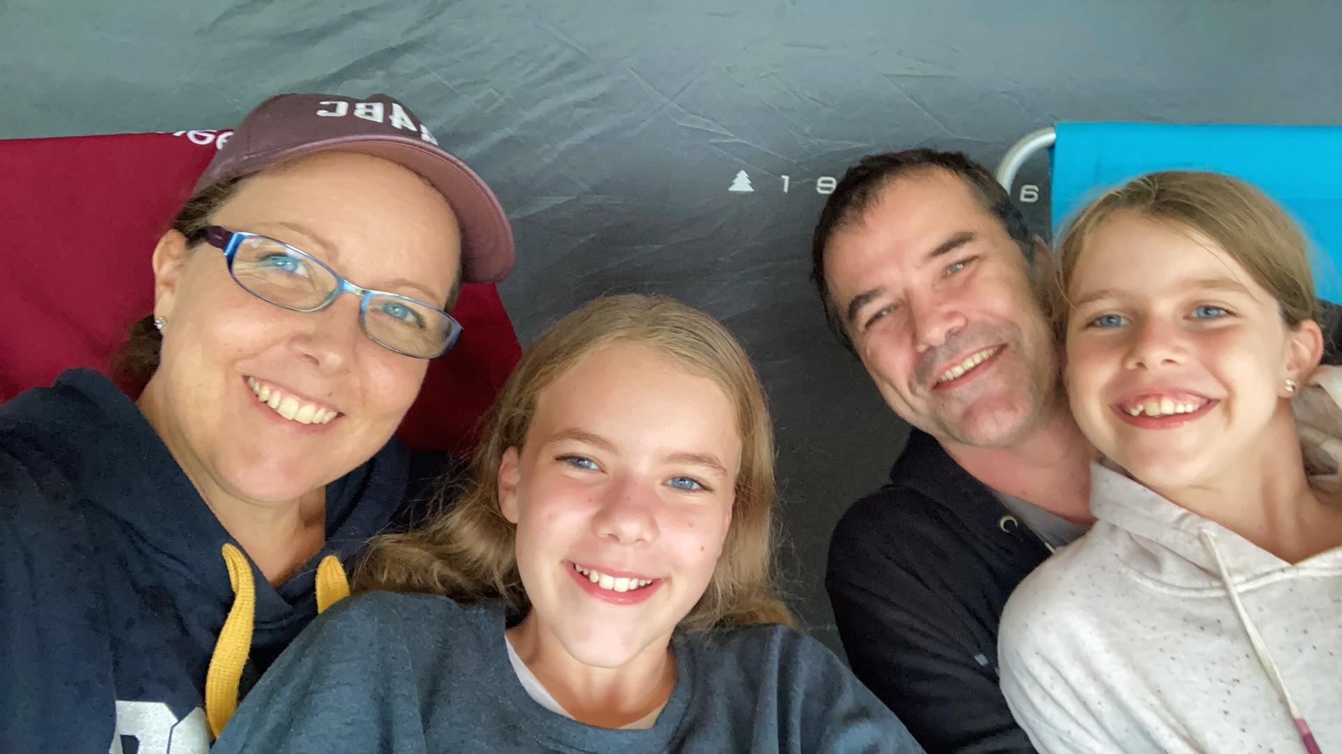Leanne, Eden, Murray and Summer Quinn camping.