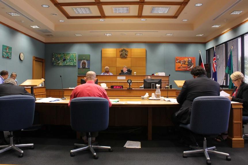 Magistrate, defendant, prosecution inside Murri Court in Cairns,