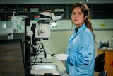 A woman in the lab.