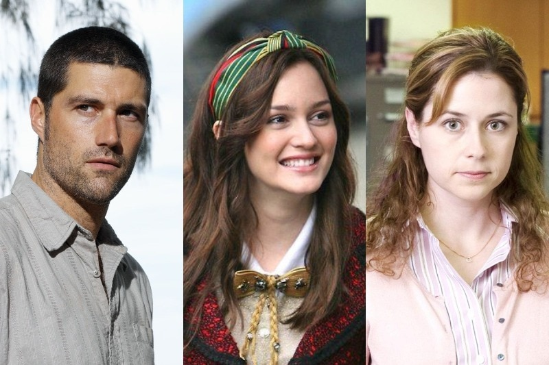 A composite image showing characters Jack Shephard from Lost, Blair Waldorf from Gossip Girl, and Pam Beesly from The Office.