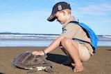 Owen khaki Australia Zoo wildlife warrior uniform squatting on the beach with his hand patting the turtle, ocean and blue sky