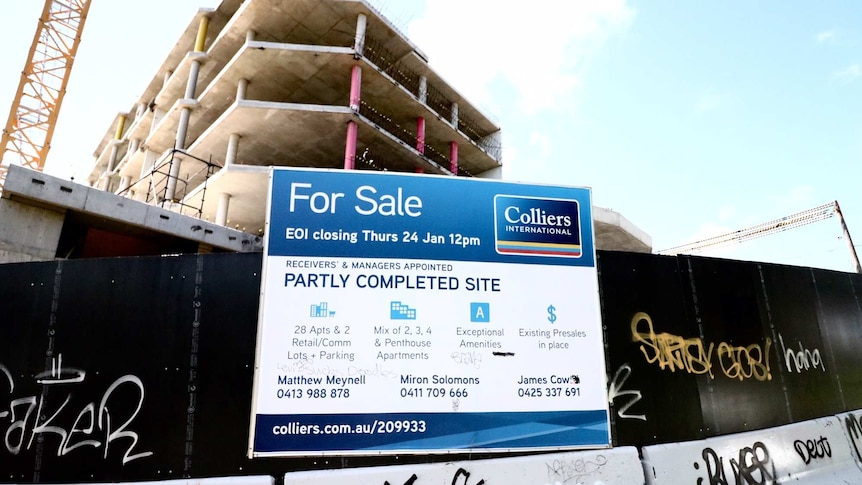 An apartment construction site in Cronulla sits idle after the developer went under, March 20, 2019.