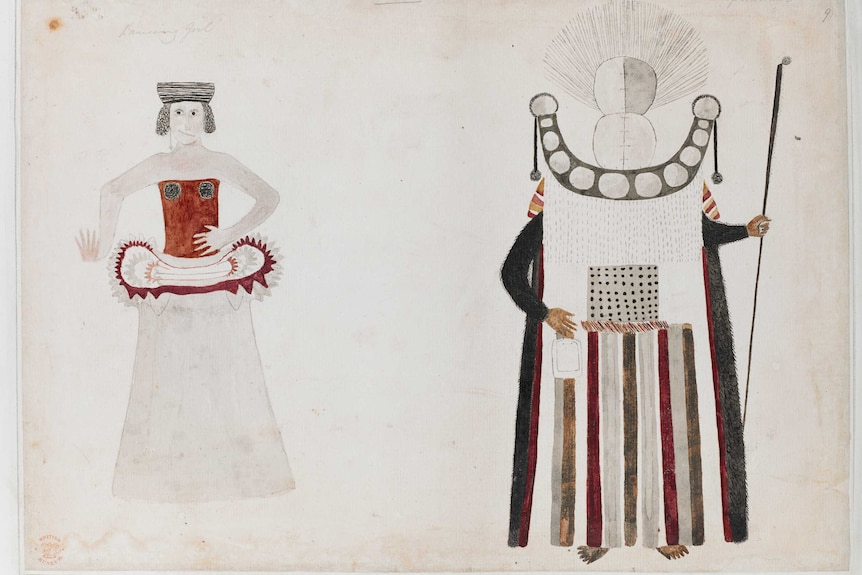 A drawing of a woman dancing and a Tahitian chief mourner's costume.