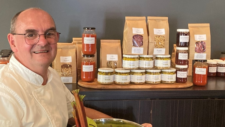 Play Audio. Bruce Ryman pictured with a range of local produce. Duration: 6 minutes 22 seconds