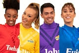 A composite image of The Wiggles new cast members Tsehay Hawkins, Kelly Hamilton, John Pearce andEvie Ferris.