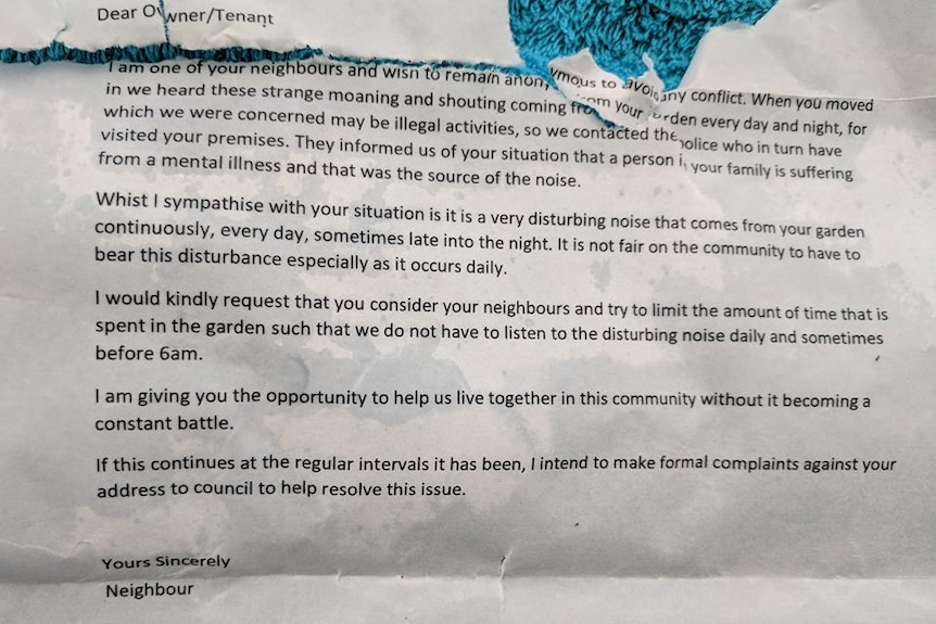 An anonymous letter left in Magenta Quinn's letterbox