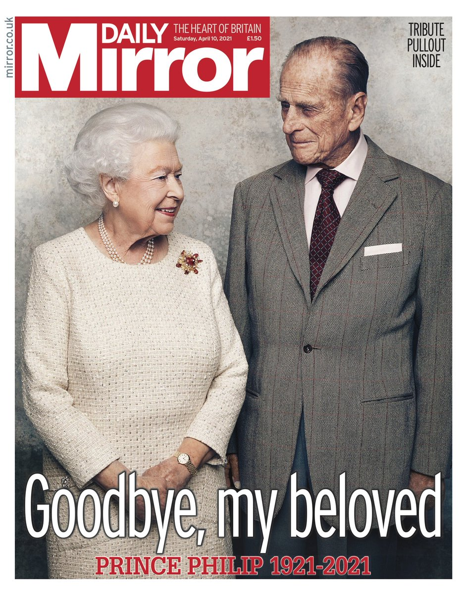 The front page of the Daily Mirror newspaper the day after the death of Prince Philip.