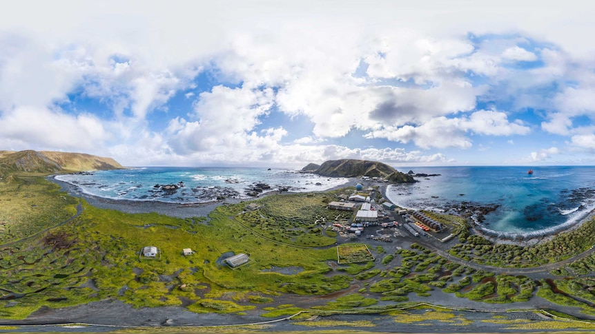 Still from virtual reality tour of Macquarie Island research station.