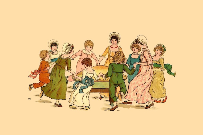 An old illustration of a  group of children holding hands in a circle.
