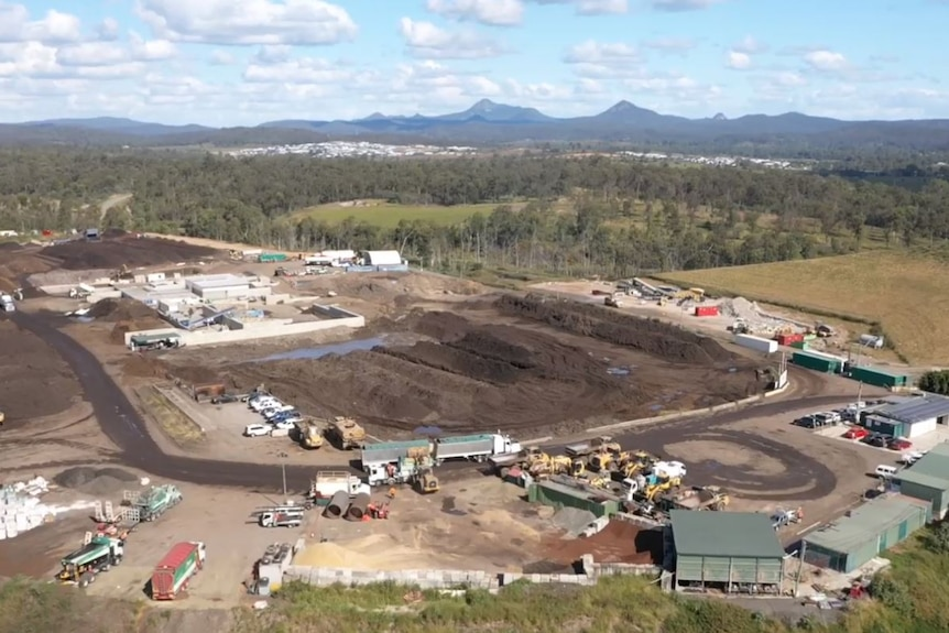 Aerial video still of NuGrow Ipswich waste recycling facility at Swanbank, west of Brisbane.