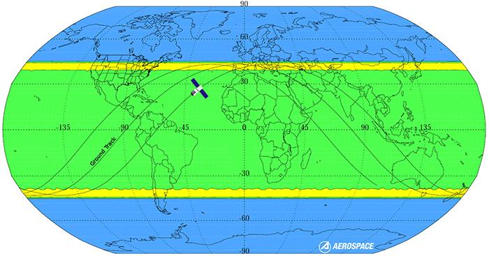Map of Tiangong1's orbit path