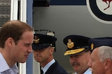 Prince William being greeted by Wing Commander Clive Wells at RAAF Amberley.