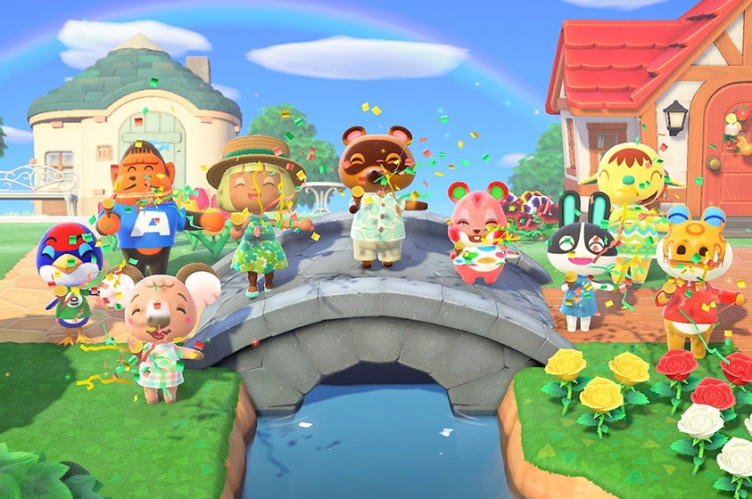 In a brightly coloured virtual 3D village 9 happy anthropomorphic animal characters stand on bridge with ice cream and confetti.