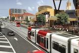 Artist's impression of Newcastle's new light rail