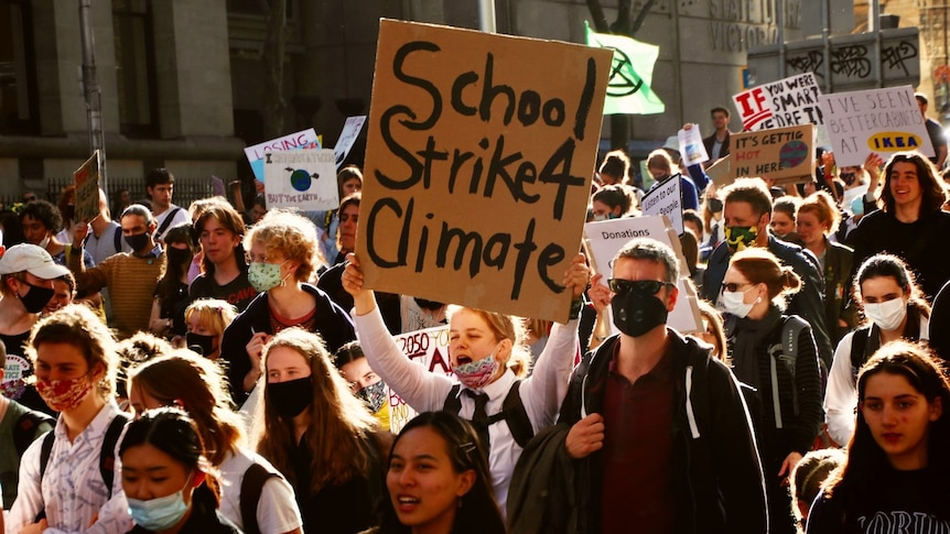 A person carrying a sign that says SchoolStrike4Climate in amongst a crowd of protesters.