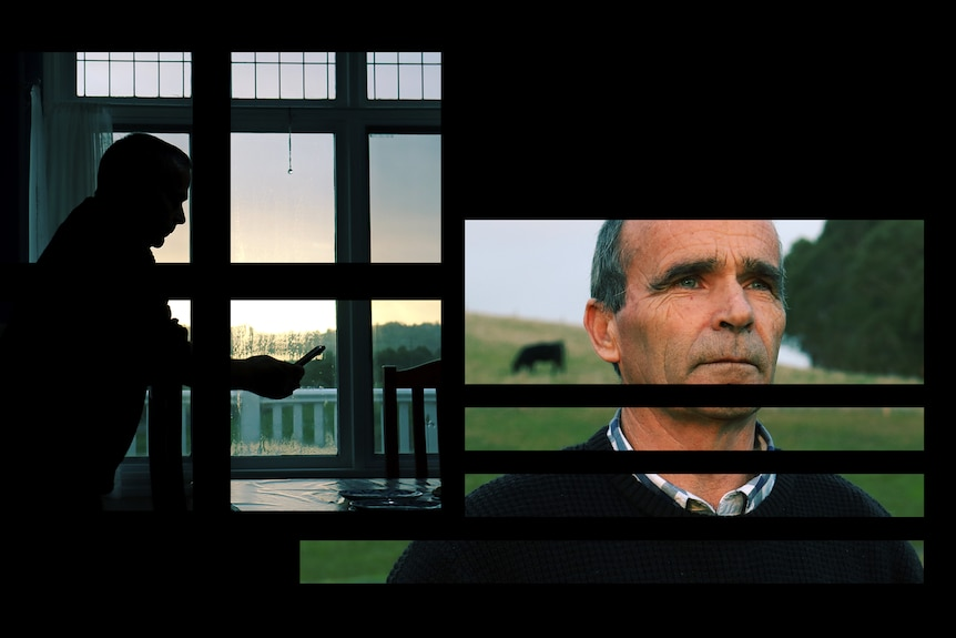 Images in separate spaced-apart rectangles showing Barry staring while standing in a field, and in silhouette on his phone.
