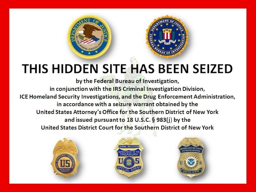 The image placed on the original Silk Road after seizure of property by the FBI.