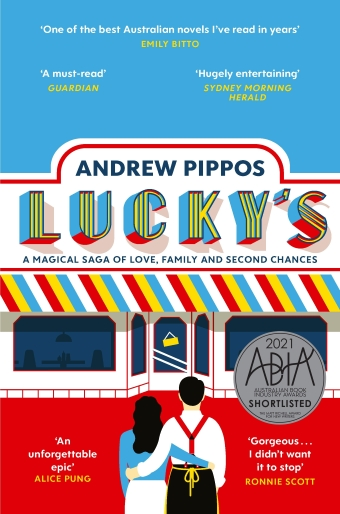 The book cover of Lucky's by Andrew Pippos, an illustration of a couple looking at a shop
