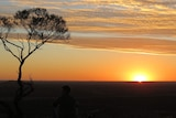 Mount Slowcombe at sunset at Yaraka, more than 200 kilometres south of Longreach in western Queensland