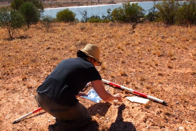 A female scientists wearing a brown hat crouches on dirt ground at a dig site near the River Murray.