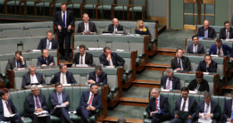Coalition MPs fill the green backbenches in the House of Representatives. Tony Abbott is standing up.