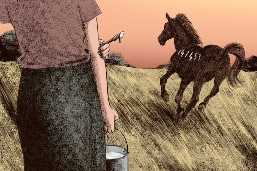 A girl carrying a bucket stands in a field near a horse that's galloping.