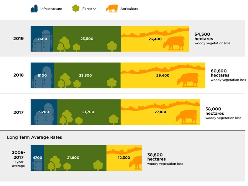 A graph comparing land clearing over the last 3 years and the long term average