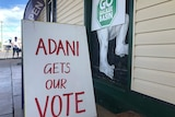Signs saying 'Adani gets our vote' and 'Go Galilee Basin' in Clermont in central Queensland.