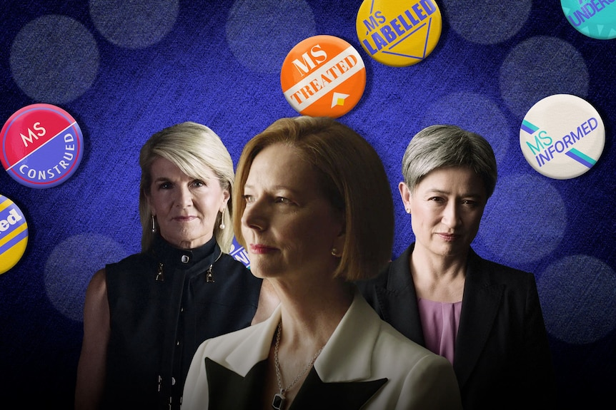 Julie Bishop, Julia Gillard and Penny Wong with political buttons