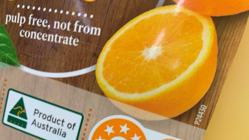 close up of the label on an orange juice