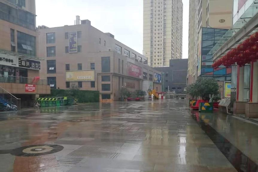 An empty inner city street in Wuhan.