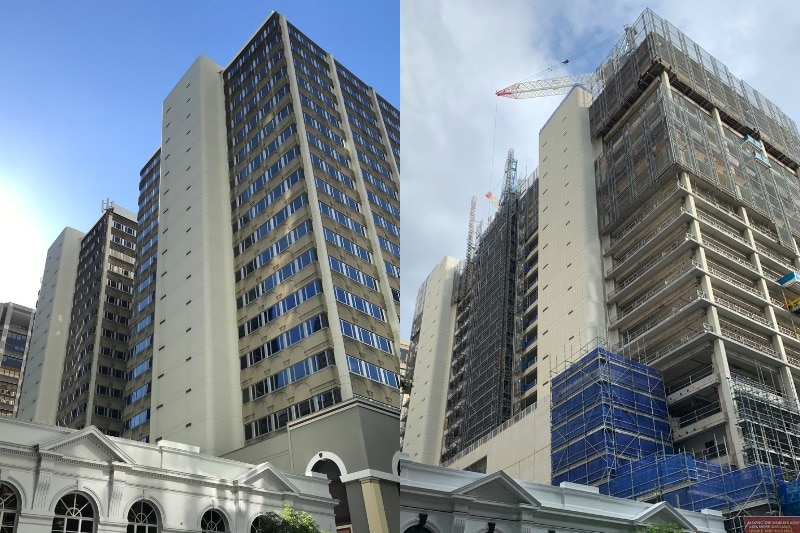 Before and After of two buildings.