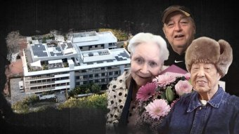 Three elderly people next to an aerial shot of a building.