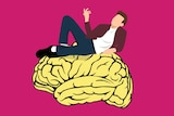An illustration of a man lying on a brain with a pink background.