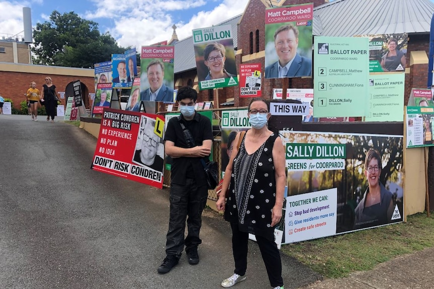 A woman and a man wearing flu masks standing in front of election signs