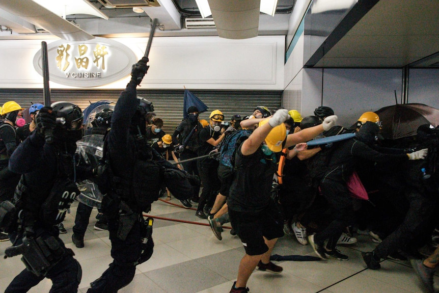 Special Tactical Squad officers attack protesters with batons inside a train station.